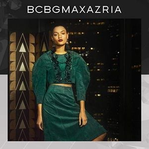 BCBGMaxAzria Sequined Puff Sleeves Crop Top